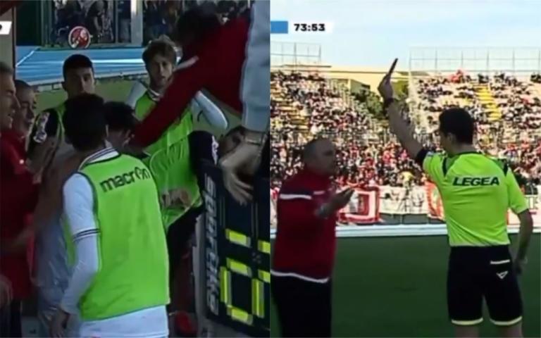 Il giocatore protesta per la sostituzione, lui glidà un schiaffo. L'arbitro espelle l'allenatore | VIDEO