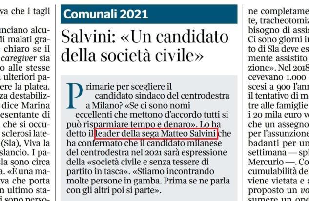 Salvini leader della sega