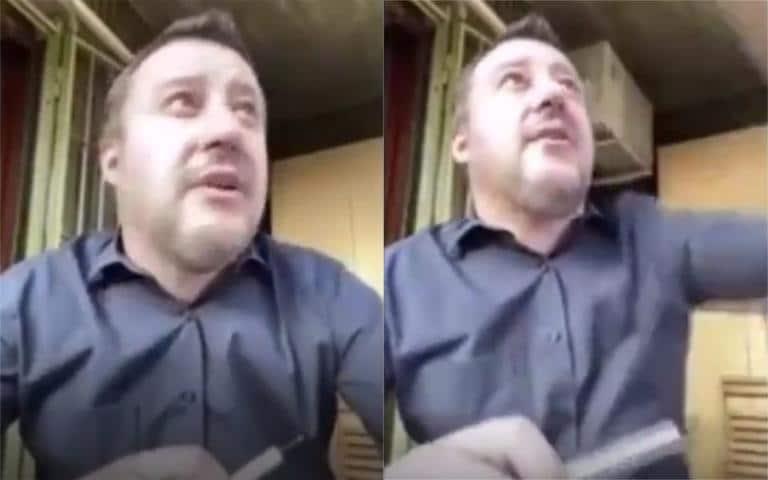 L'uomo che interrompe da diretta social di Salvini gridando: