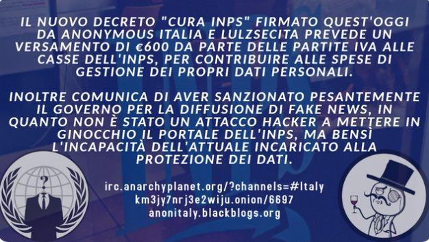 Anonymous si prende gioco degli attacchi hacker all'Inps