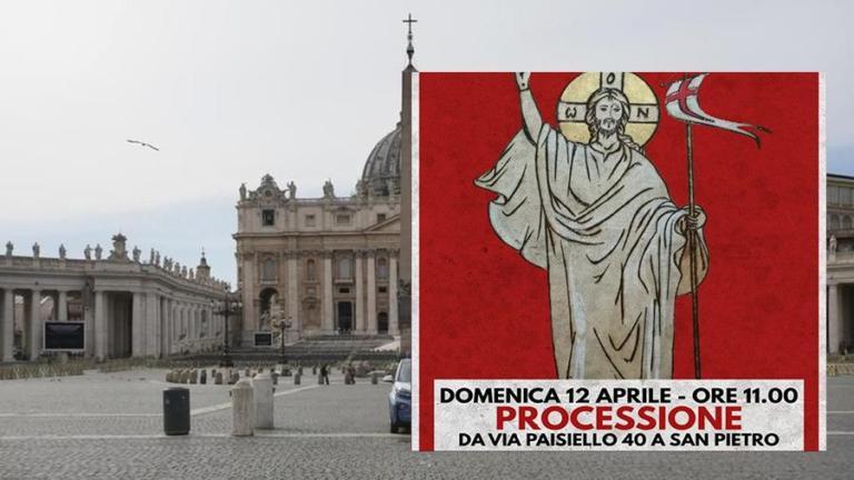 Forza Nuova marcia verso San Pietro, la processione di Pasqu