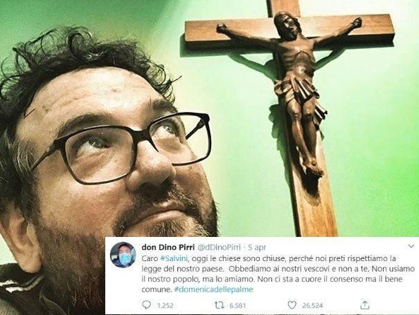 Il tweet del prete a Salvini: «Obbediamo ai vescovi, non cer