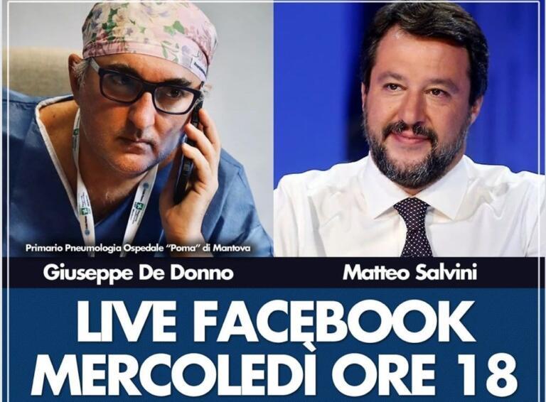 Salvini esulta per De Donno che ha ricevuto un premio per la