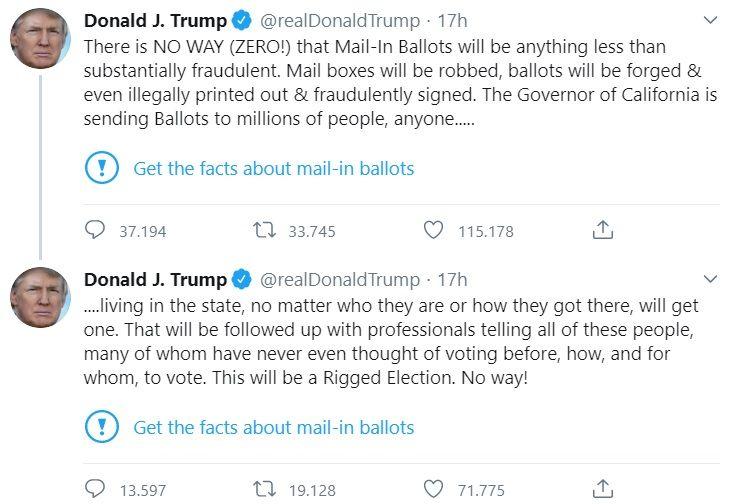 Il fact checking di Twitter sotto il post di Trump, che accu
