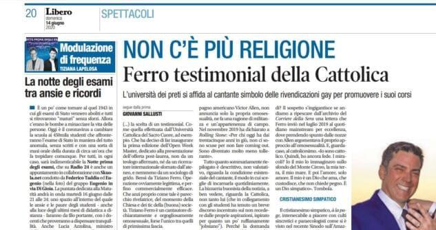 Tiziano Ferro testimonial Università Cattolica
