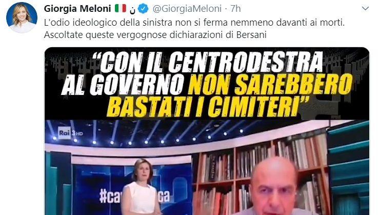 La Meloni accusa Bersani e «l'odio ideologico di sinistra»