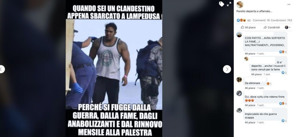 Migrante palestrato a Lampedusa