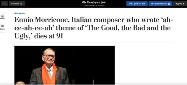 Washington Post su Ennio Morricone