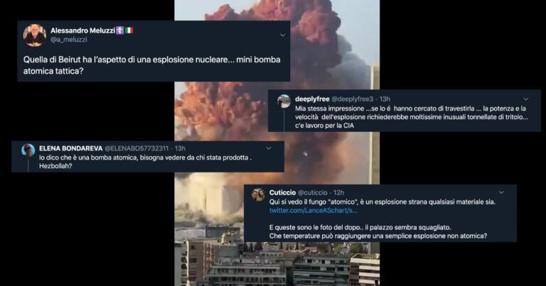 Gli 'artificieri' social italiani hanno già deciso: a Beirut è esplosa una bomba nucleare