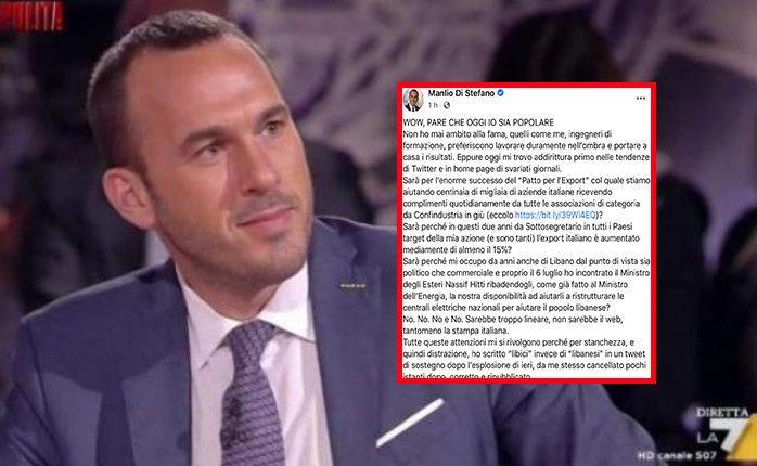 Manlio Di Stefano e il post dopo l'errore libici libanesi: «Felice per i giornali dimenticati e per i frustrati come Calenda»