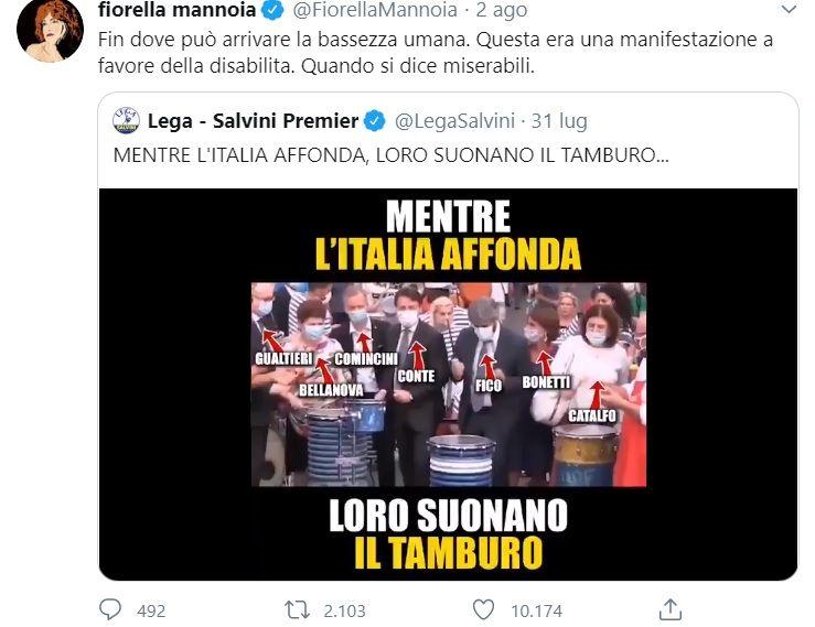 Fiorella Mannoia e l'accusa ai «miserabili» della Lega che strumentalizzano una manifestazione a favore dei disabili