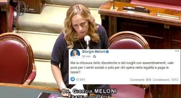 """Giorgia Meloni, la foto che imbarazza Conte: """"I violenti fanno il gioco del governo"""""""