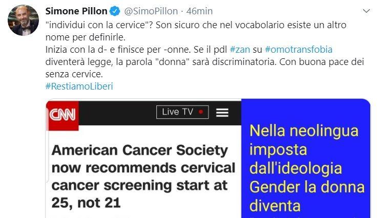 La polemica di Pillon per l'espressione «individui con cervice» dimostra perché il ddl Zan deve passare