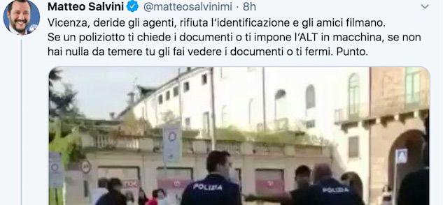 Salvini sul ragazzo di Vicenza bloccato al collo da un poliziotto: «Altro che razzismo, si tratta di regole»
