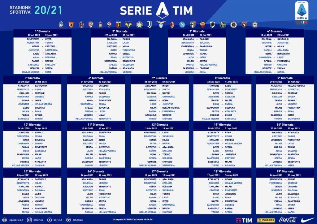 Calendario Serie A 2020 2021, Inter Juventus alla penultima giornata