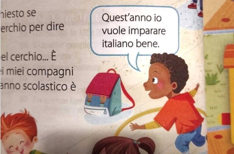 """Il bambino nero parla male l'italiano in un testo scolastico, la sinistra accusa: """"Libro razzista"""""""