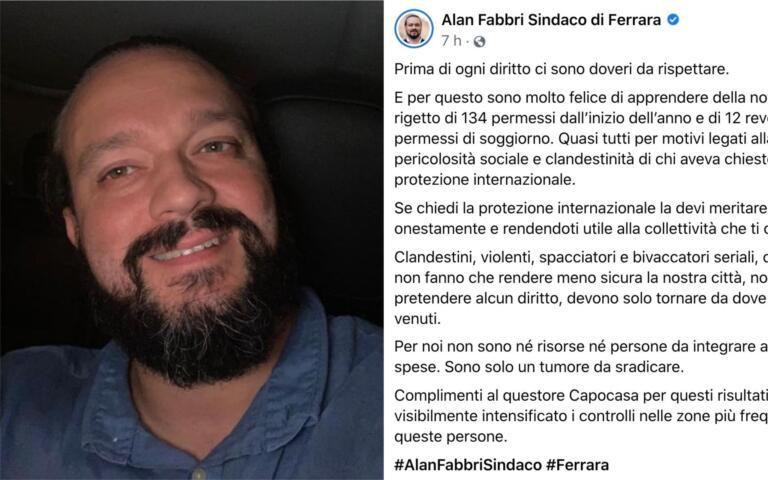 Il Sindaco di Ferrara e i clandestini che «sono solo un tumore da sradicare»