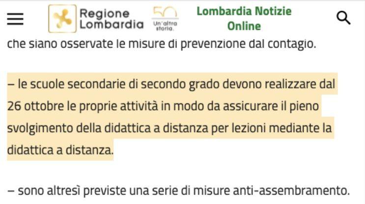 La frase nonsense con cui la Lombardia annuncia la didattica a distanza per i ragazzi delle superiori