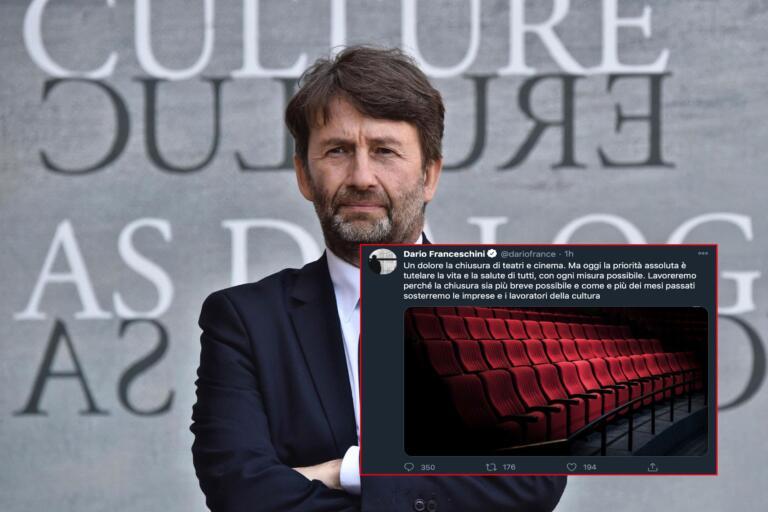 La tristezza del tweet di Franceschini in cui si dice addolorato per la chiusura dei teatri e dei cinema