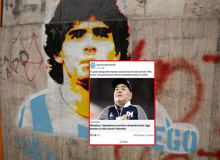 Il Corriere pubblica su Facebook la notizia dell'operazione di Maradona, dopo la sua morte