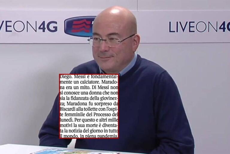 Cazzullo dice che Maradona è un mito perché «fu sorpreso da Biscardi alla toilette con l'ospite femminile»