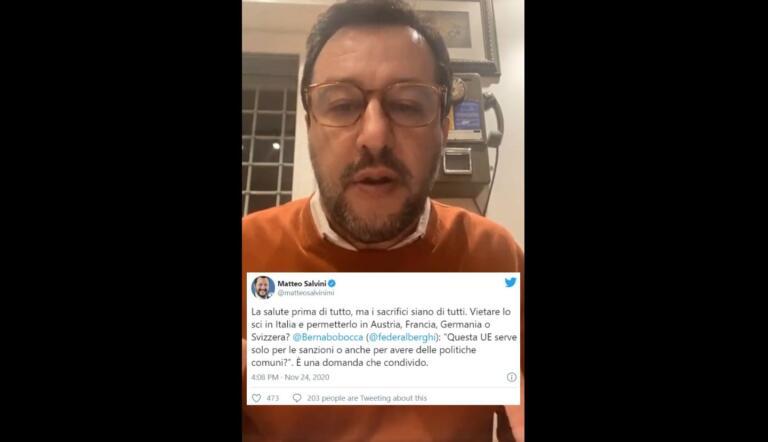 Piste da sci, Salvini non poteva farsi sfuggire la polemica social