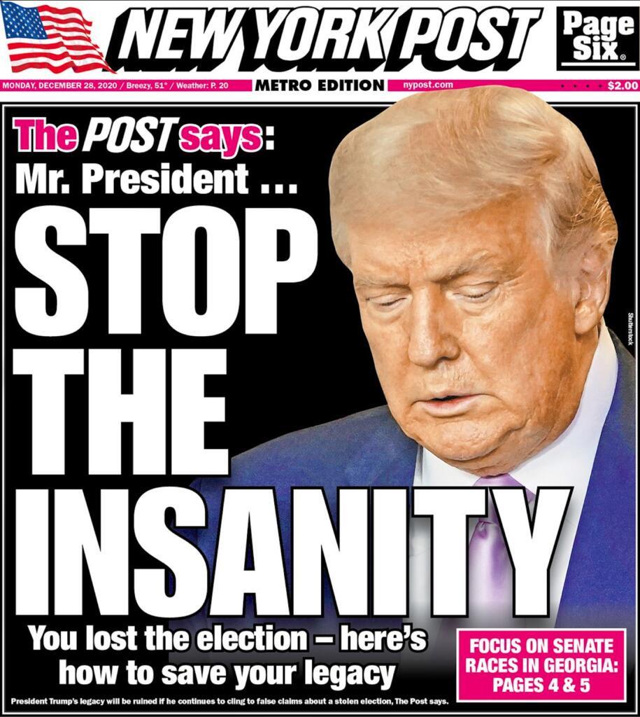 Prima pagina New York Post 28 dicembre 2020