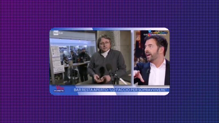 Alberto Matano spiega al ristoratore no mask che chiudergli il collegamento non è censura di Stato
