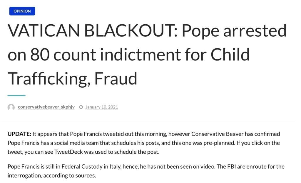 Papa Francesco arrestato