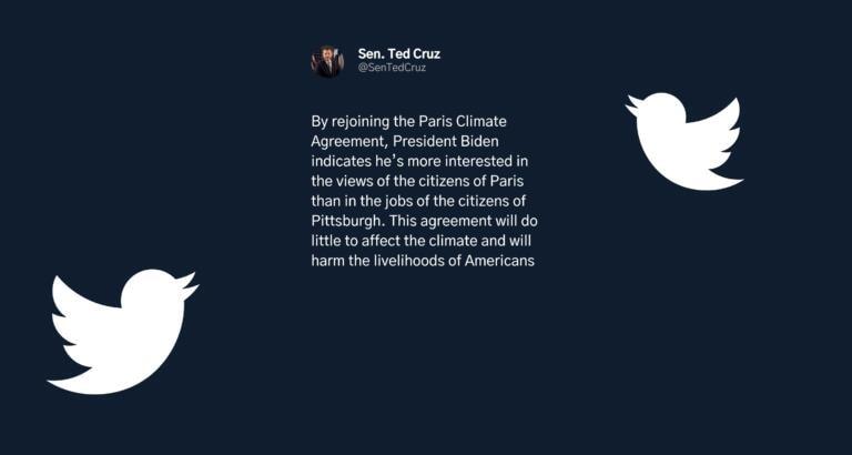 Il tweet di Ted Cruz sul ripristino degli accordi sul clima: «Biden preferisce Parigi a Pittsburgh»
