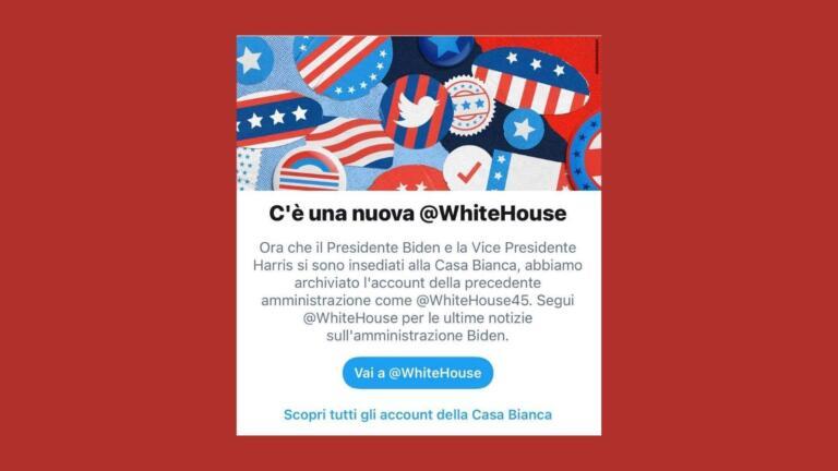 Facebook avvisa gli utenti che la Casa Bianca ha un nuovo account
