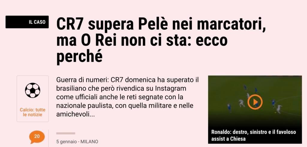 Cristiano Ronaldo supera Pelé, gazzetta 5 gennaio