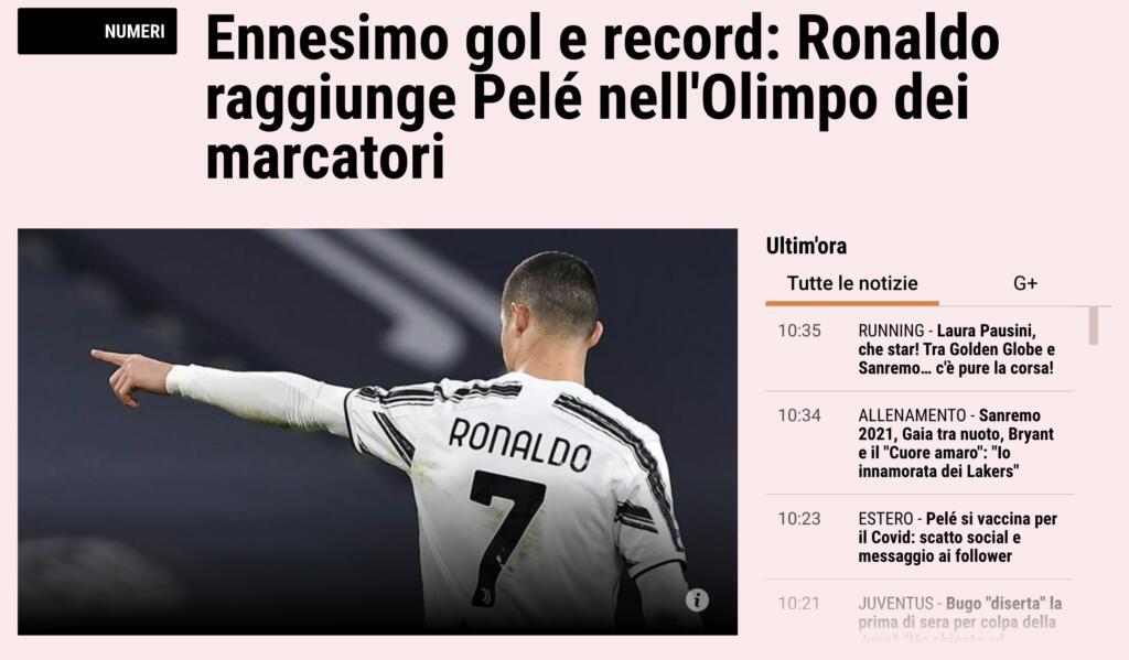 Cristiano Ronaldo supera Peleé Gazzetta 2 marzo