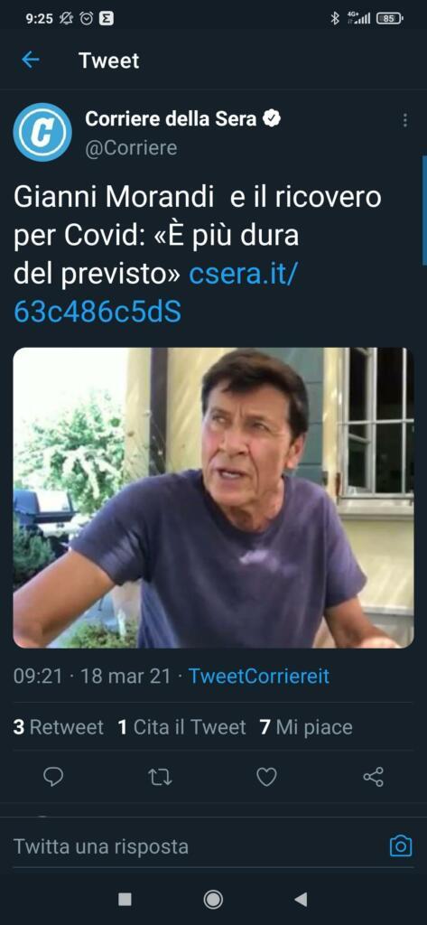 Gianni Morandi ricoverato per Covid, tweet Corriere della Sera