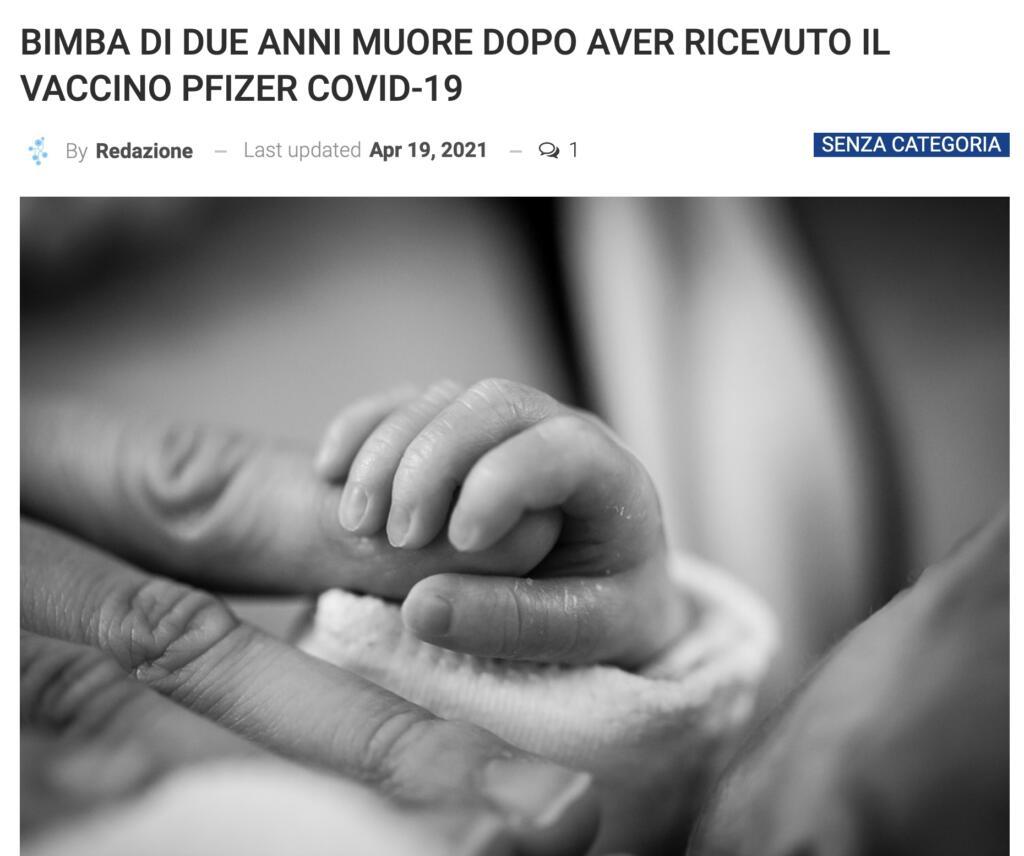 Bambina morta dopo Vaccino Pfizer, titolo
