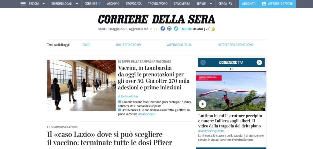 Incidente deltaplano, homepage Corriere ore 12 del 10 maggio 2021