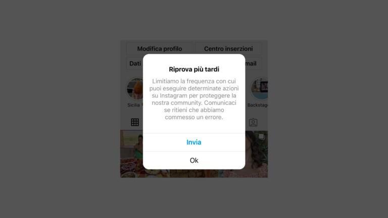 Se ti è uscito il messaggio che la tua frequenza è limitata su Instagram, non devi preoccuparti