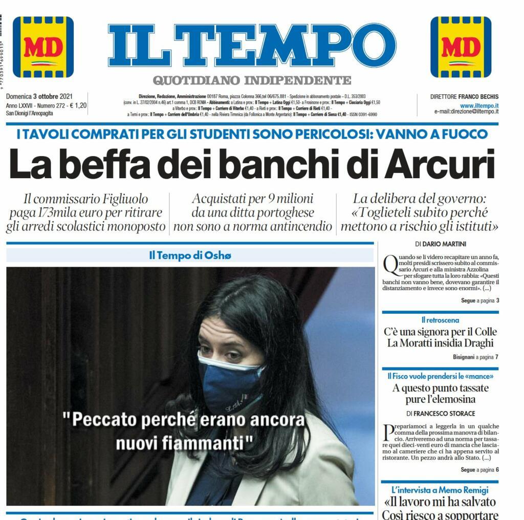 Banchi infiammabili, prima pagina Il Tempo 3 ottobre 2021