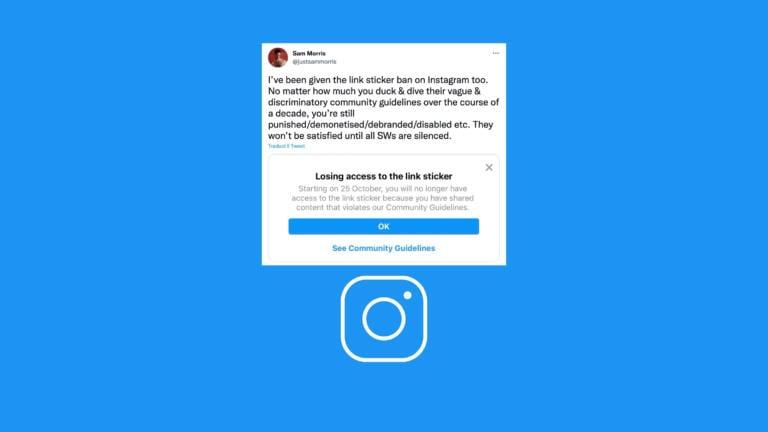 """Instagram sta inviando la notifica di """"sticker ban"""" dal 25 ottobre a diversi profili verificati"""