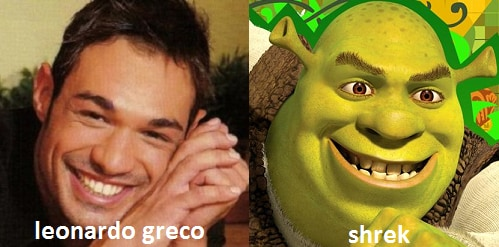 Somiglianza tra Leonardo Greco e Shrek