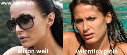 Somiglianza tra Alison Weil e Valentina Gioia