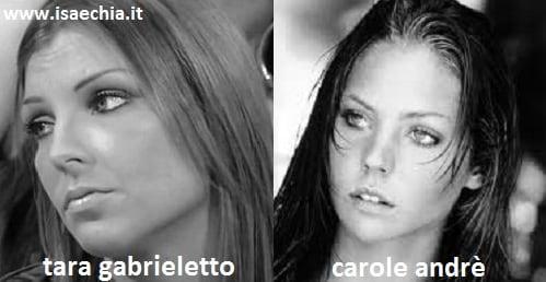 Somiglianza tra Tara Gabrieletto e Carole Andrè