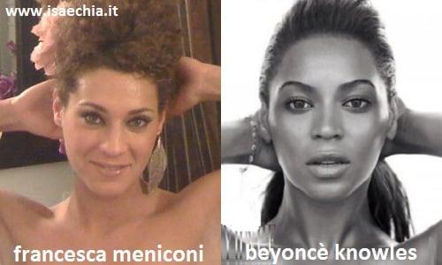 Somiglianza tra Francesca Meniconi e Beyoncé Knowles