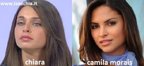 Somiglianza tra Chiara, corteggiatrice di Francesco Monte, e Camila Morais