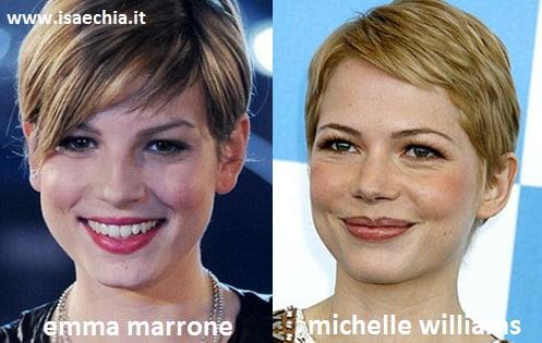 Somiglianza tra Emma Marrone e Michelle Williams