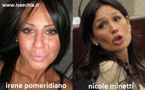 Somiglianza tra Irene Pomeridiano e Nicole Minetti