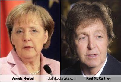 Somiglianza tra Angela Merkel e Paul Mc Cartney