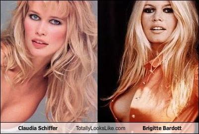 Somiglianza tra Claudia Schiffer e Brigitte Bardot
