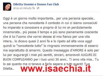 Diletta Pagliano su Facebook fa gli auguri a Leonardo Greco che