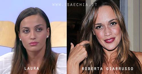 Somiglianza tra Laura, neo corteggiatrice di Eugenio Colombo e Andrea Offredi, e Roberta Giarrusso